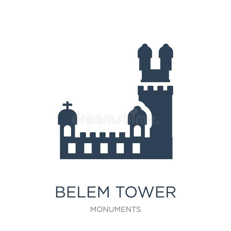значок башни belem в ультрамодном стиле дизайна значок башни belem изолированный на белой предпосылке значок вектора башни belem  иллюстрация штока