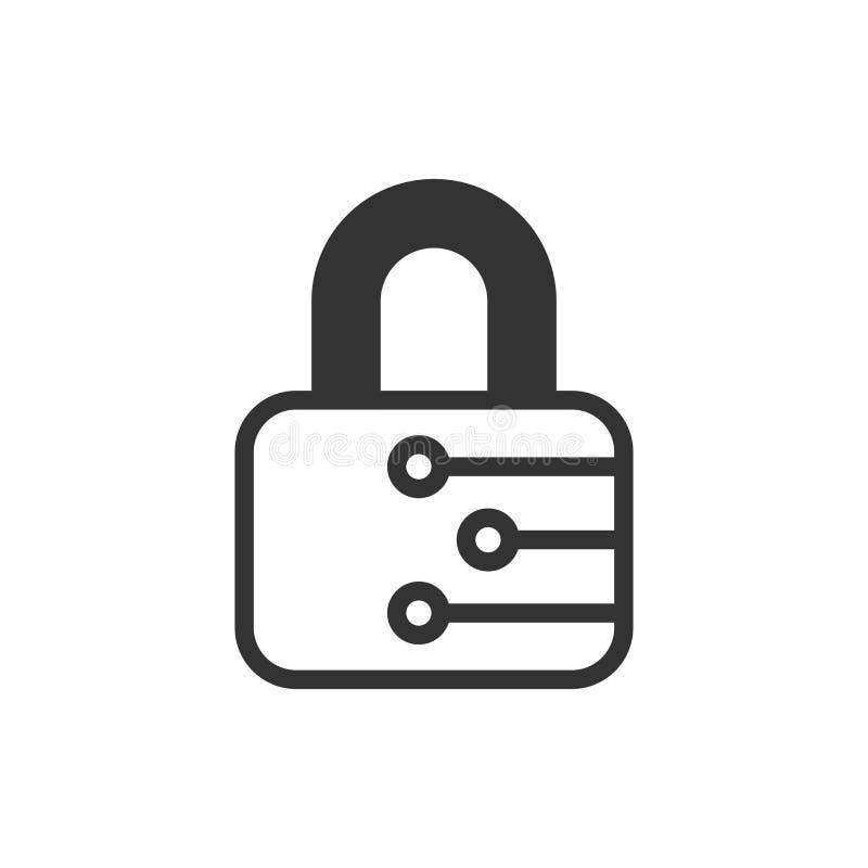 Значок безопасностью кибер в плоском стиле Иллюстрация вектора Padlock запертая на белой изолированной предпосылке Закрытое дело  иллюстрация вектора