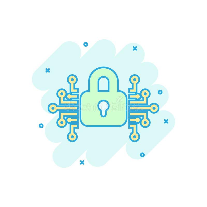 Значок безопасностью кибер в шуточном стиле Иллюстрация мультфильма вектора Padlock запертая на белой изолированной предпосылке З бесплатная иллюстрация