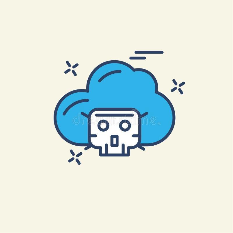 Значок безопасностью кибер с творческим и уникально стилем также с lig бесплатная иллюстрация