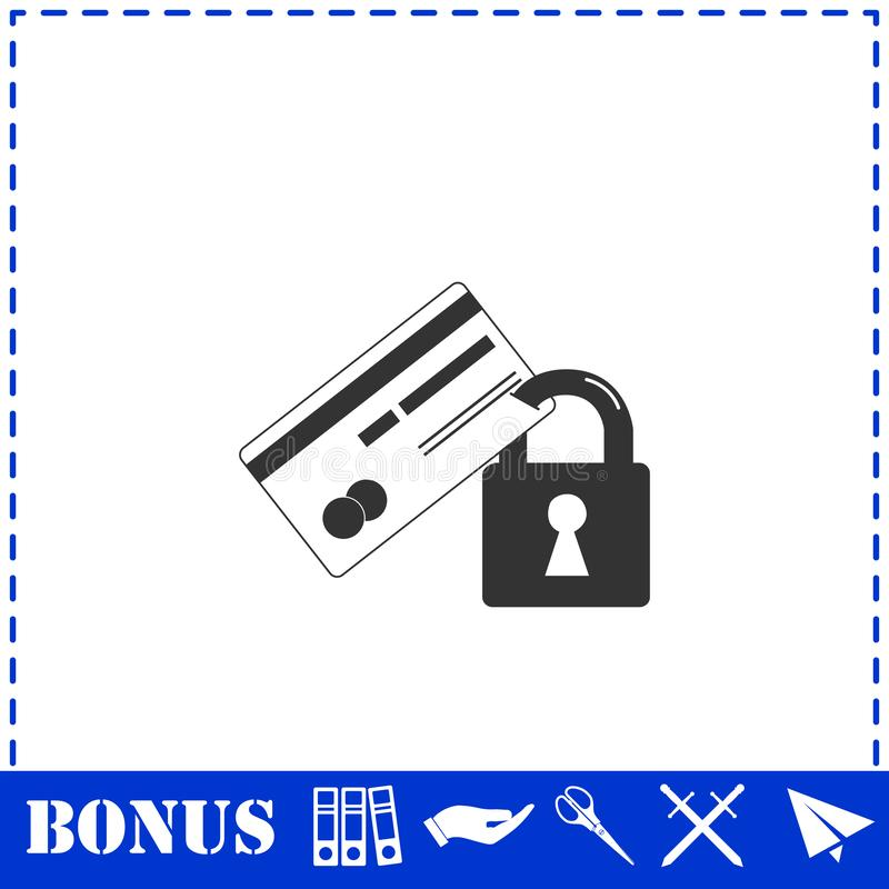 Значок безопасностью кредитной карточки плоско иллюстрация вектора