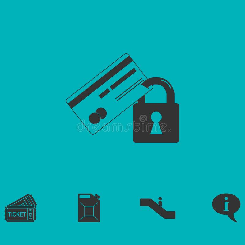 Значок безопасностью кредитной карточки плоско иллюстрация штока