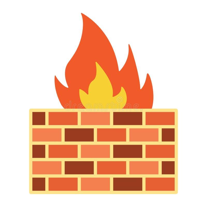 Значок, безопасность и кирпичная стена брандмауэра плоские иллюстрация штока