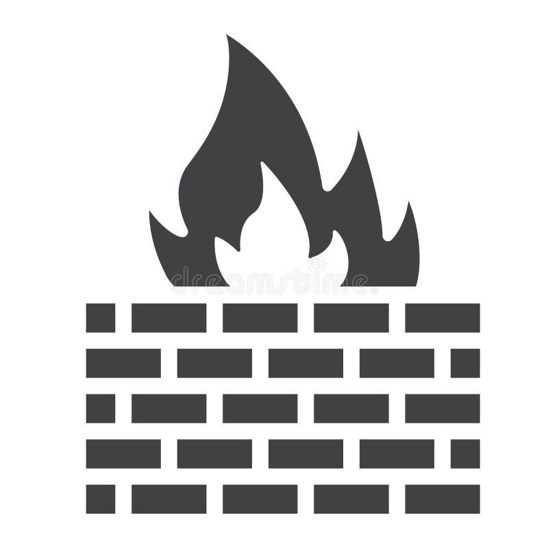 Значок, безопасность и кирпичная стена брандмауэра твердые иллюстрация штока