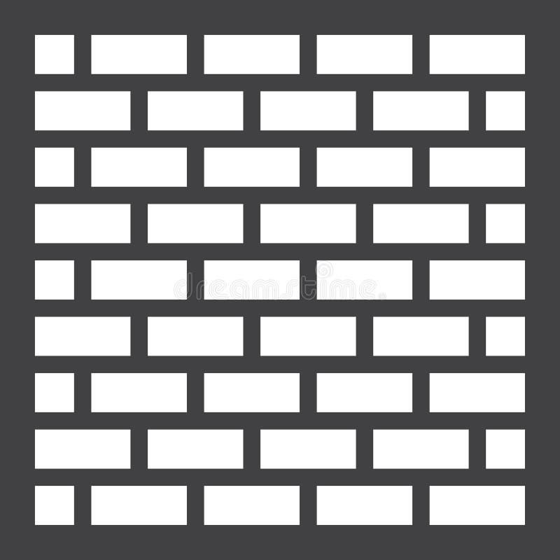 Значок, безопасность и строение кирпичной стены твердые иллюстрация вектора