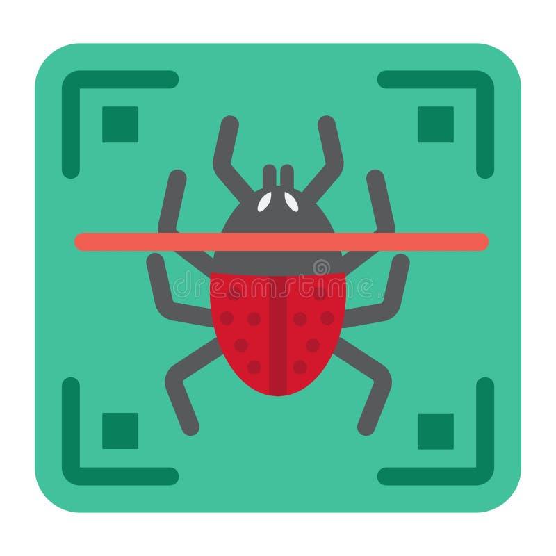 Значок, безопасность и antivurus развертки вируса плоские иллюстрация вектора