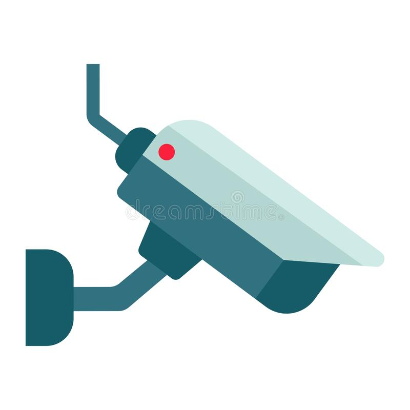 Значок, безопасность и cctv камеры Surveilance плоские иллюстрация вектора