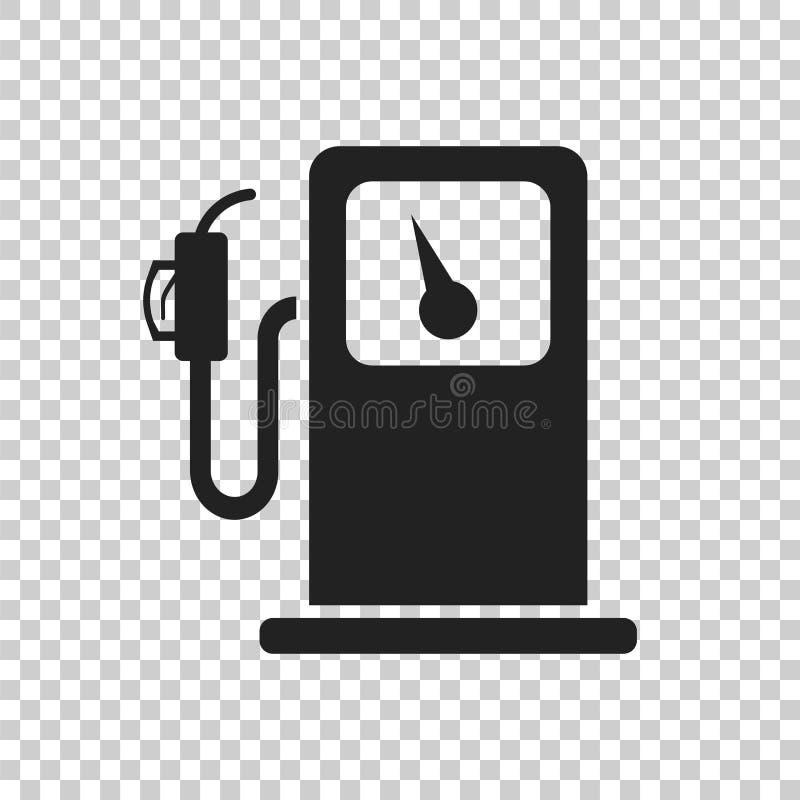 Значок бензоколонки топлива Иллюстрация бензонасоса автомобиля плоская иллюстрация вектора