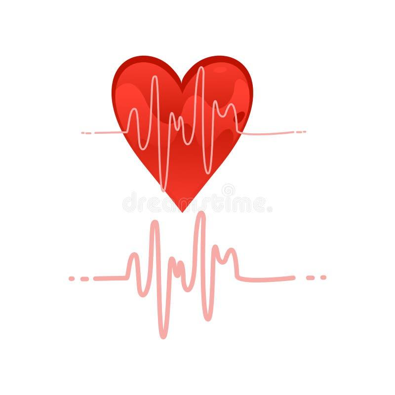Значок биения сердца с диаграммой ИМПа ульс на белой предпосылке и на красной форме сердца шаржа Изолированная иллюстрация вектор иллюстрация вектора