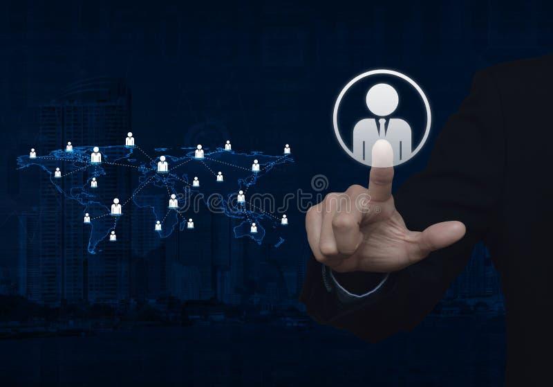 Значок бизнесмена щелчка руки бизнесмена с светом - голубыми мамами мира стоковое изображение rf
