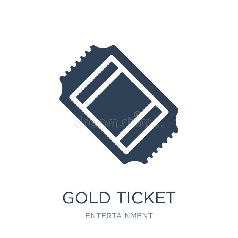 значок билета золота в ультрамодном стиле дизайна значок билета золота изолированный на белой предпосылке значок вектора билета з иллюстрация вектора