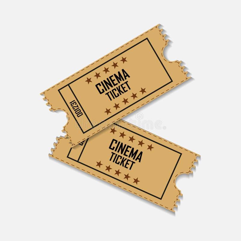 Значок билета фильма вектора Кино билета в ретро стиле слои иллюстрация вектора