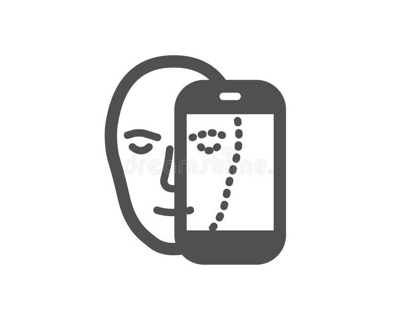 Значок биометрии стороны Лицевое опознавание знаком телефона вектор иллюстрация штока
