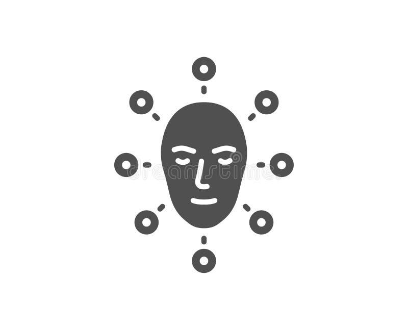 Значок биометрии стороны Лицевой знак опознавания вектор иллюстрация штока