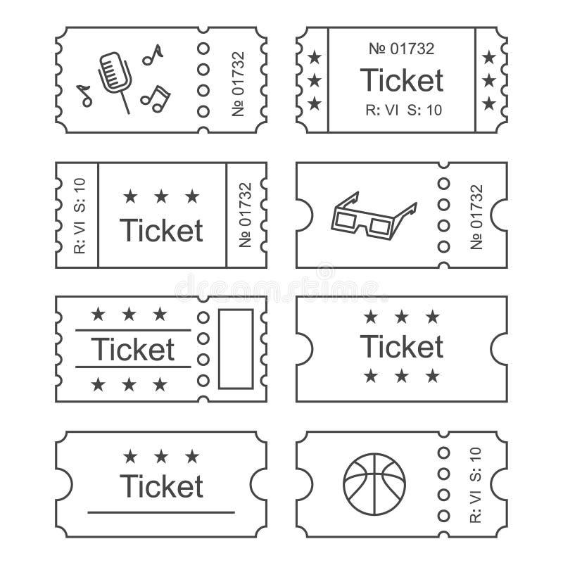 Значок билета установленный иллюстрация штока