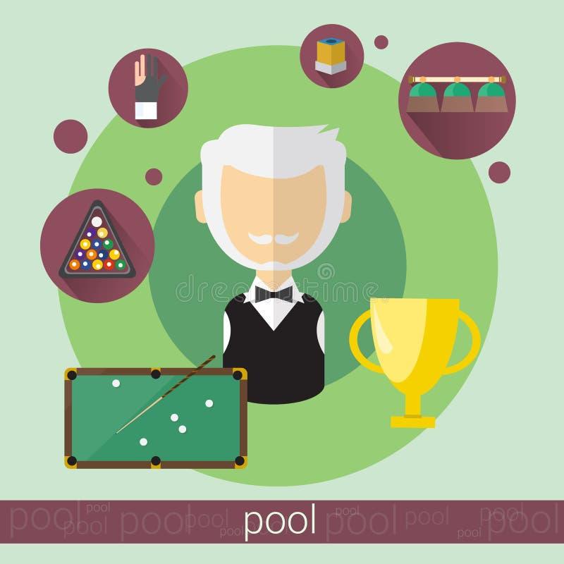 Значок биллиардов старшего человека игрока игры бассейна иллюстрация вектора