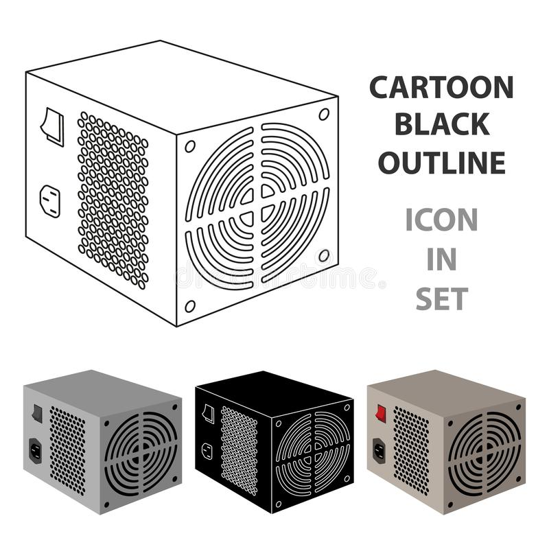 Значок блока электропитания в стиле шаржа изолированный на белой предпосылке Вектор запаса символа аксессуаров персонального комп бесплатная иллюстрация