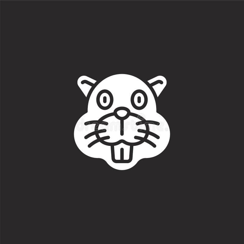 значок бобра Заполненный значок бобра для дизайна вебсайта и черни, развития приложения значок бобра от заполненного животного со бесплатная иллюстрация