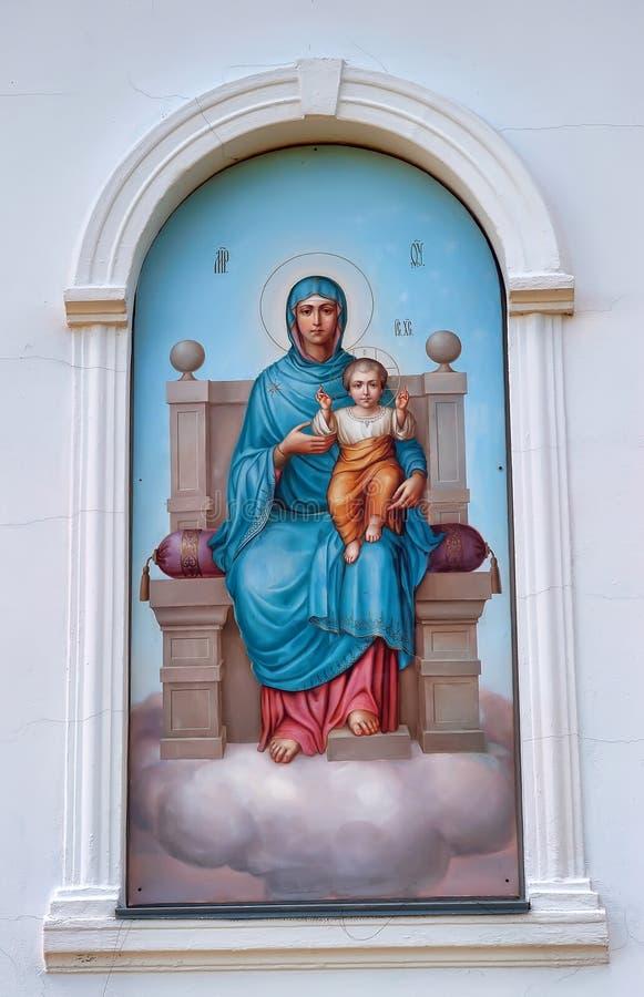 Значок Богоматери с младенцем стоковые изображения