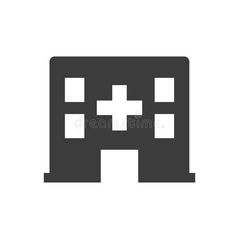 Значок больницы на белой предпосылке стоковое изображение rf