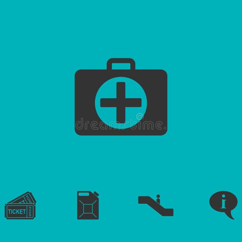 Значок бортовой аптечки плоский иллюстрация штока