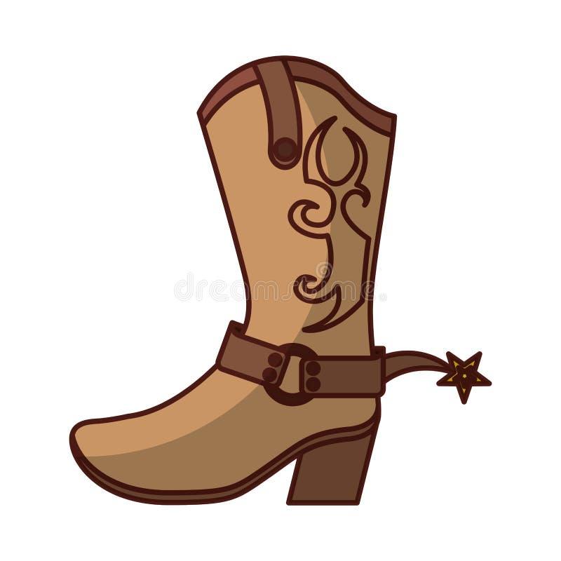 Значок ботинка ботинка ковбоя иллюстрация штока