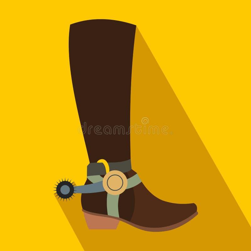 Значок ботинка ковбоя плоский иллюстрация штока