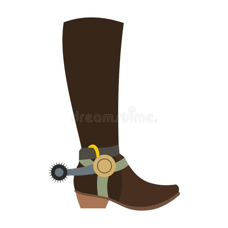 Значок ботинка ковбоя иллюстрация штока