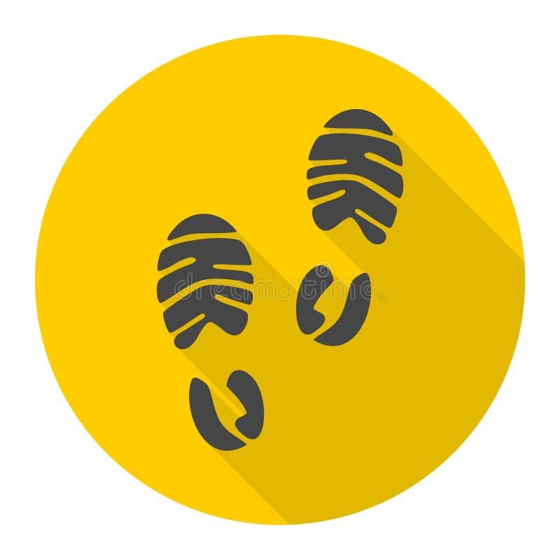 Значок ботинка спорта следа ноги с длинной тенью иллюстрация штока