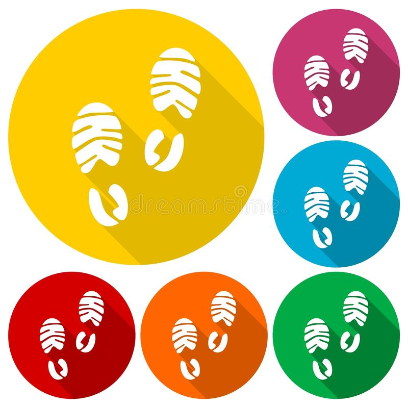 Значок ботинка спорта следа ноги с длинной тенью бесплатная иллюстрация