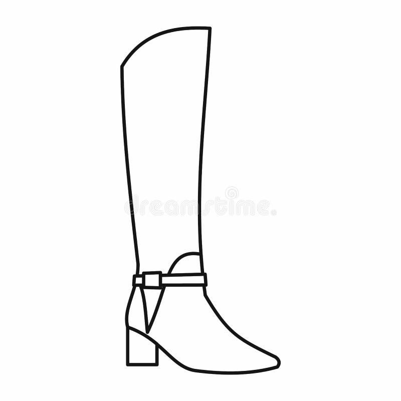 Значок ботинок женщин высокий, стиль плана иллюстрация вектора