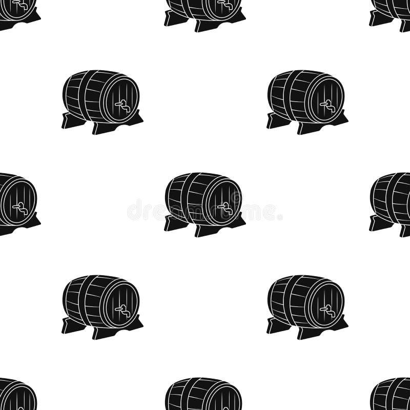 Значок бочонка пива в черном стиле изолированный на белой предпосылке Иллюстрация вектора запаса картины Oktoberfest бесплатная иллюстрация