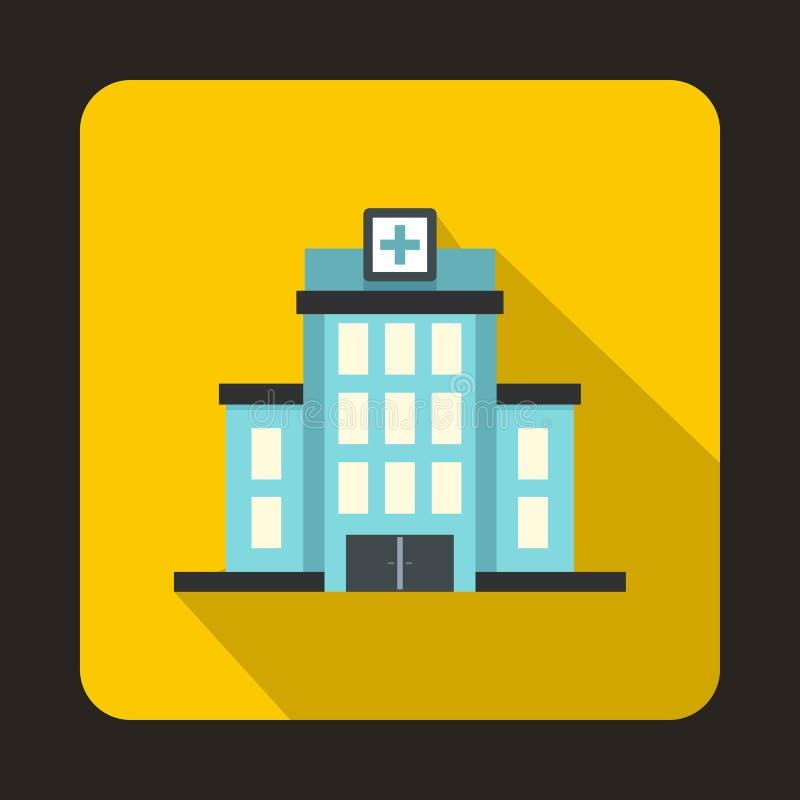 Значок больницы, плоский стиль иллюстрация вектора