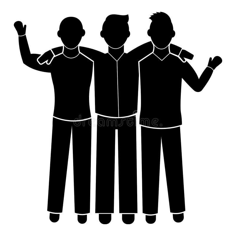 Значок братства 3 друг, простой стиль бесплатная иллюстрация