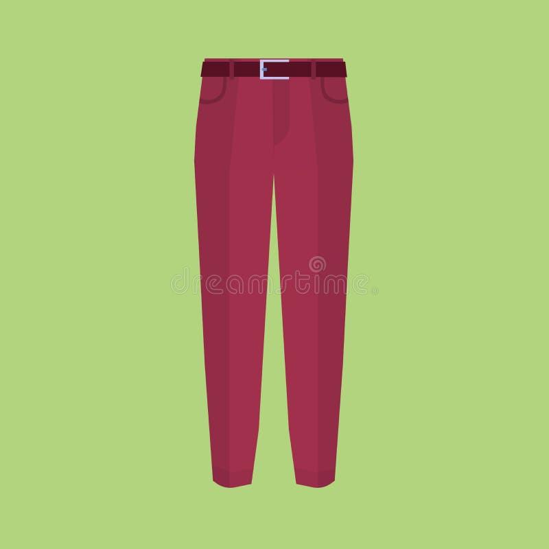 Значок брюк на зеленых современных брюках vector иллюстрация Брюки модного хлопка элегантные Плоский вектор дизайна бесплатная иллюстрация