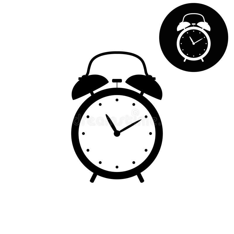 Значок будильника - белый и черный вектора иллюстрация вектора