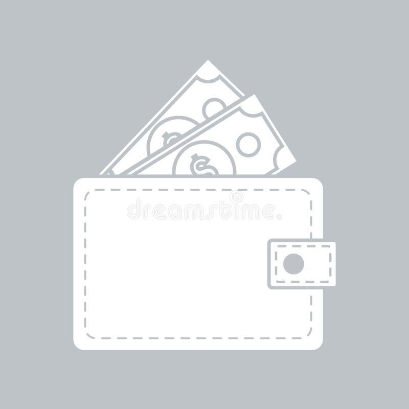 Значок бумажника плоский на серой предпосылке, для любого случая иллюстрация штока