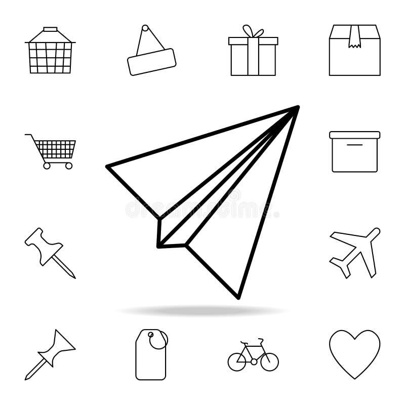 Значок бумажного самолета Детальный набор простых значков Наградной графический дизайн Один из значков собрания для вебсайтов, ве иллюстрация штока