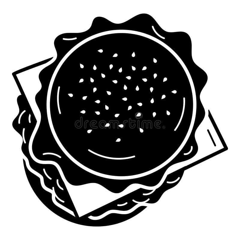 Значок бургера взгляда сверху американский, простой стиль иллюстрация штока