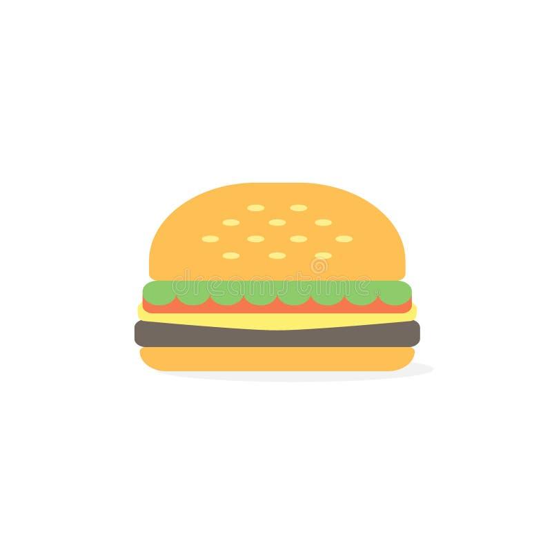 Значок бургера, иллюстрация вектора стиля простого бургера плоская бесплатная иллюстрация