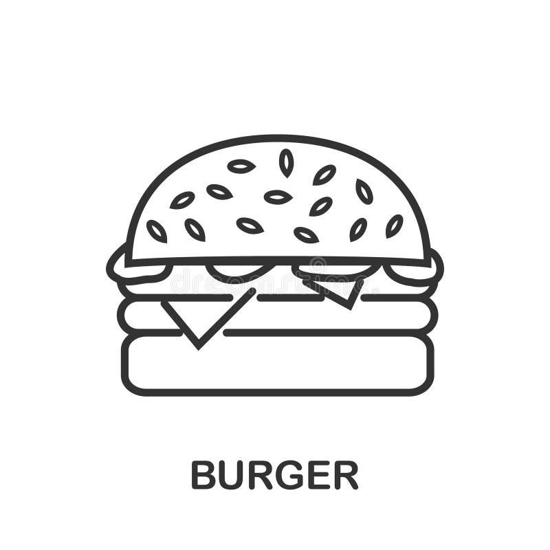 Значок бургера или линия стиль логотипа искусства иллюстрация вектора