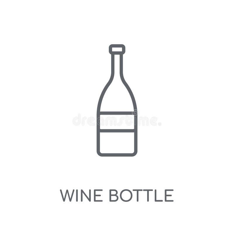 Значок бутылки вина линейный Современная концепция логотипа бутылки вина плана иллюстрация вектора