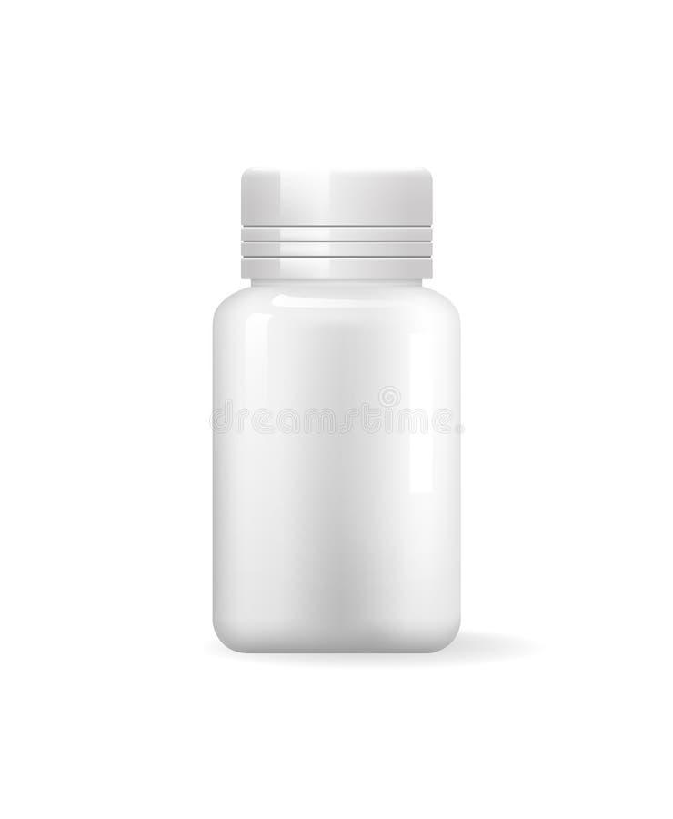 Значок бутылки пилюльки изолированный Пустой медицинский контейнер бесплатная иллюстрация