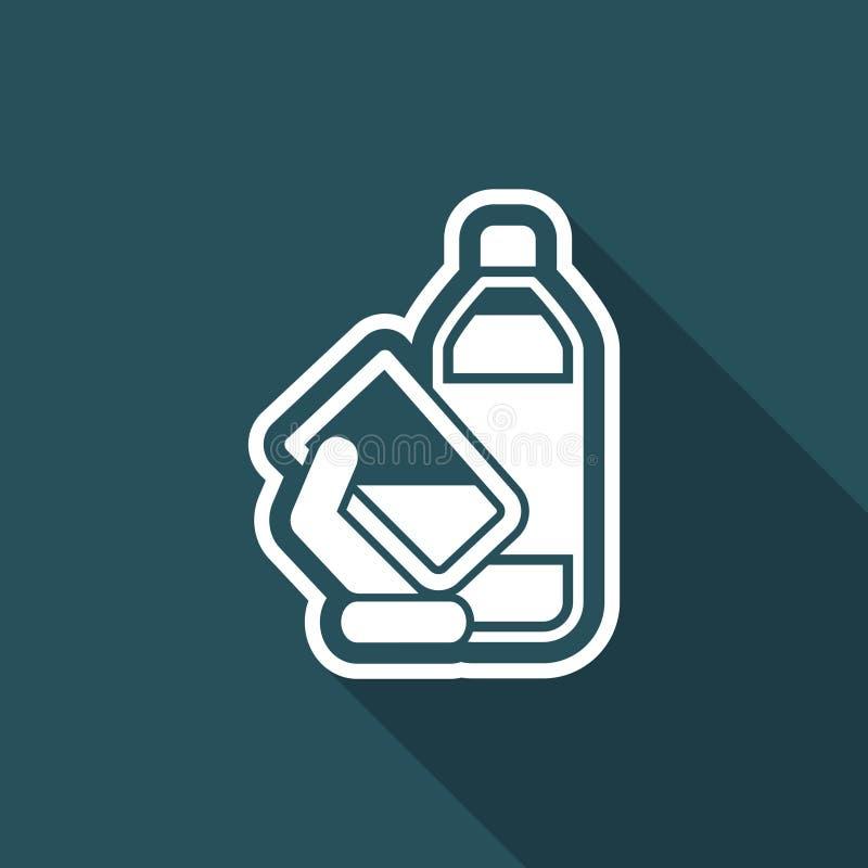 Значок бутылки с водой иллюстрация вектора