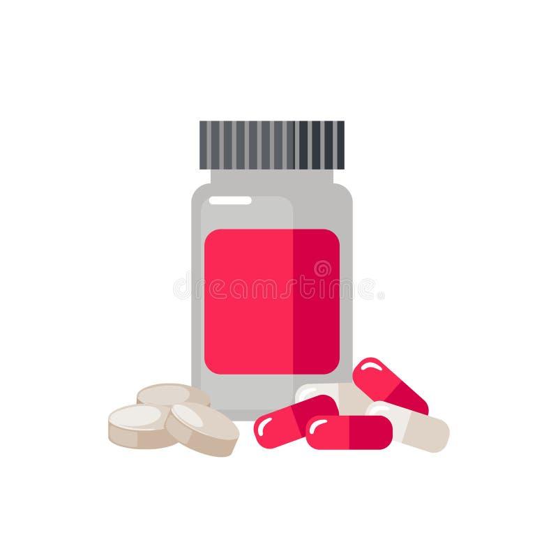 Значок бутылки таблетки изолированный на белой предпосылке иллюстрация штока