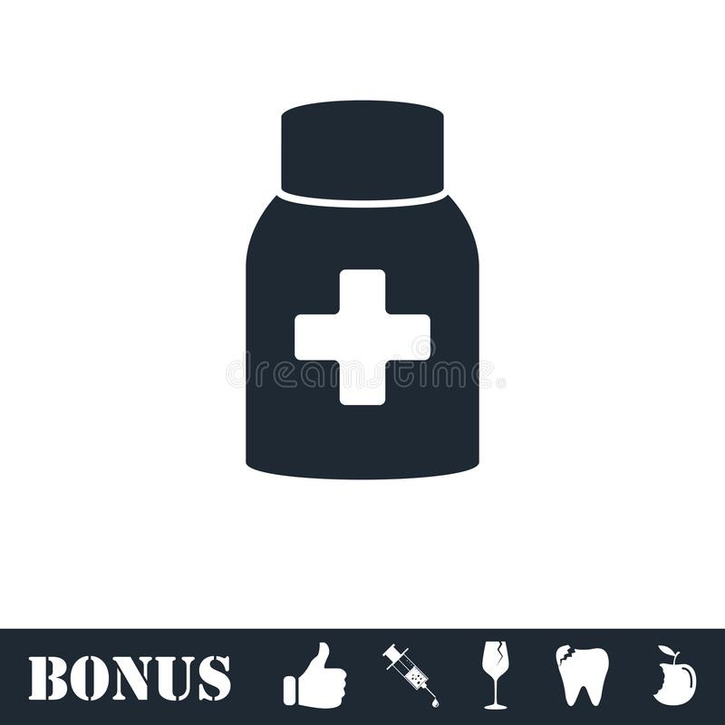 Значок бутылки таблетки медицины плоско иллюстрация вектора