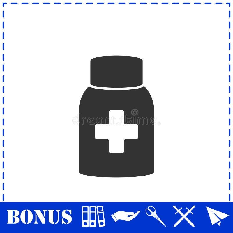 Значок бутылки таблетки медицины плоско бесплатная иллюстрация