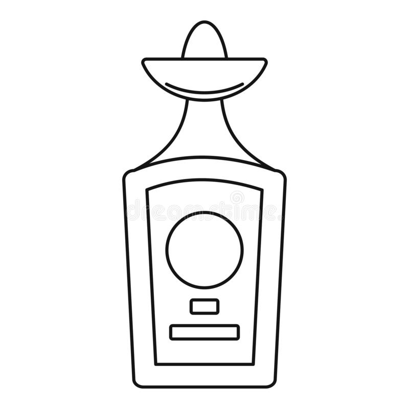 Значок бутылки текила, стиль плана иллюстрация вектора