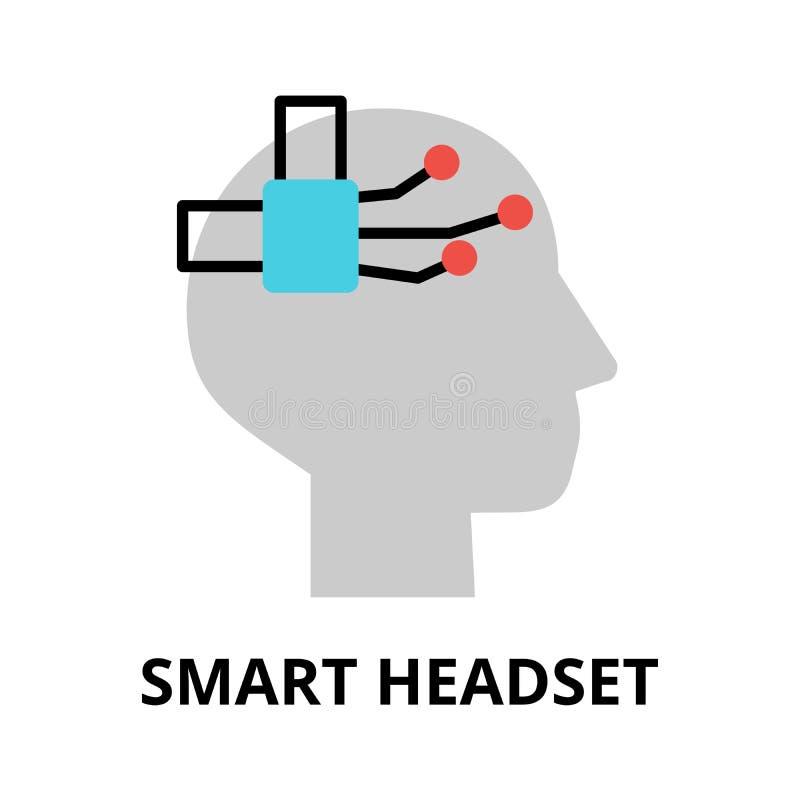 Значок будущей технологии - умный шлемофон иллюстрация вектора