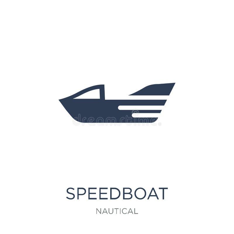 значок быстроходного катера Ультрамодный плоский значок быстроходного катера вектора на белом backg иллюстрация вектора
